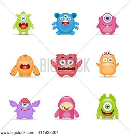 Group Of Monster Alien Mutant Colorful Character Set Isolated Vector Illustration