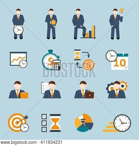 Effective Office Hours  Time Management And Realistic Goal Planning Strategy Flat Icons Collection A