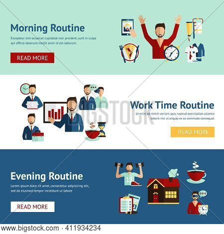 Morning Working Hours And Evening Daily Routine Businessman Cartoon Character Horizontal Flat Banner