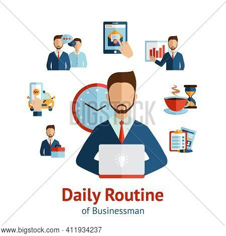 Businessman Cartoon Character Round The Clock Daily Routine Planning  Circle Pictograms  Composition