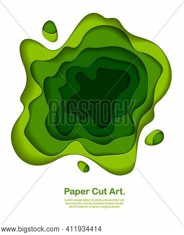 Abstract Green Paper Cutout Curvy Shapes Layered, Vector Illustration In Paper Cut Style. Layout For