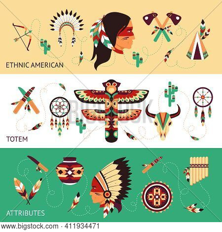 Native American Tribes Traditional Protective Ethnic Totems And Attributes Historical Concept Horizo