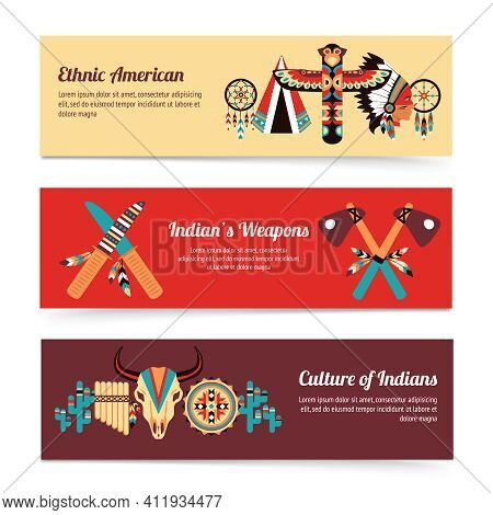 American Indigenous People Cultural Concept Horizontal Banners Set With Traditional Native Tomahawk