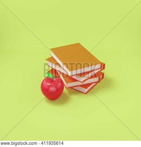 An Apple With A Books On Bright Yellow Background. 3d Render