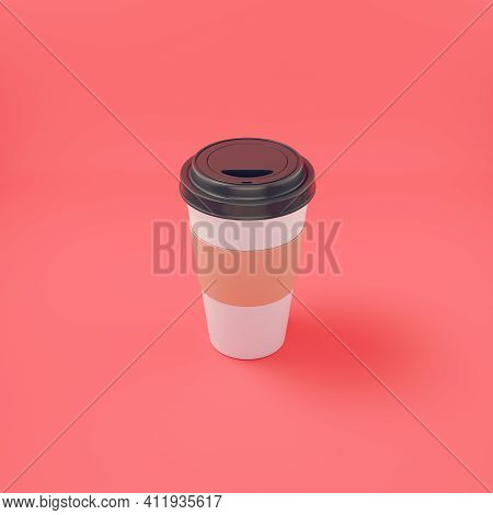 Coffee Cup On Bright Red Background. 3d Render