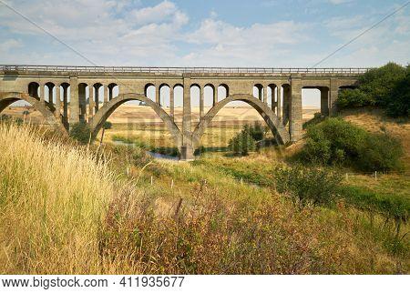Rosalia Railroad Bridge. The Concrete Railroad Bridge In The Palouse Valley. Rosalia, Washington, Us