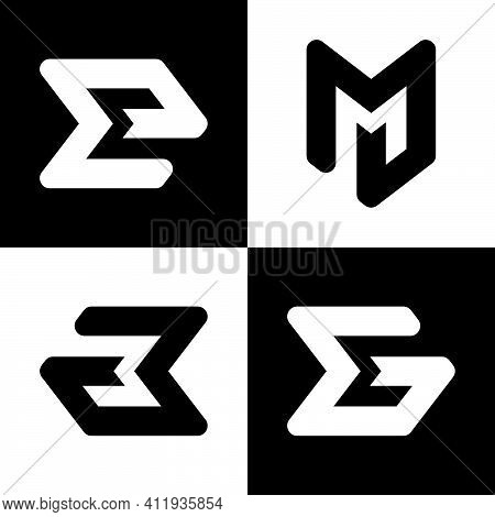 Initial Letter A, E, G And M Logo Template With Geometric Arrow Head Line Art Illustration In Flat D