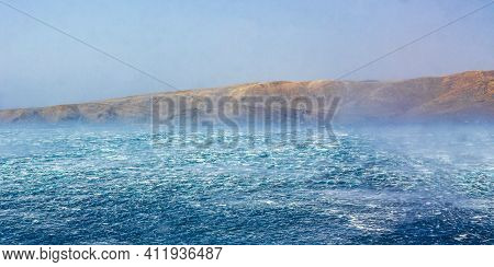 Rough Blue Seas With Strong Wind In Novi Vinodolski Croatia.