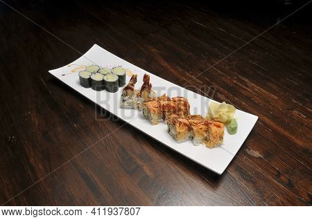 Traditional And Authentic Japanese Cusine Know As A Cucumber Roll