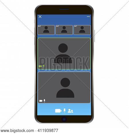 Zoom Phone Screen. Phone Call Icon. Smartphone Mockup. Camera Icon. Web App Ui Display Template. Sto