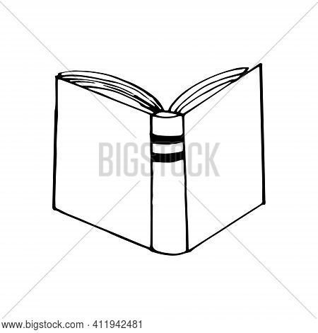 Book Open Icon. Sketch Hand Drawn Doodle Style. Vector, Minimalism, Monochrome. Learning, Knowledge,