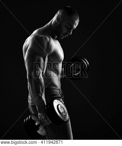 Muscular Men Bodybuilder Is Working Out, Lifting Alternately Two Dumbbells, Doing Exercises For Bice