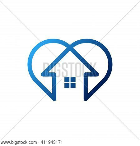 Stay at Home Logo Icon Vector design illustration. Stay at Home icon. Stay at Home vector icon. Stay at Home logo. Stay at Home symbol. Home with heart shape icon shows messages \