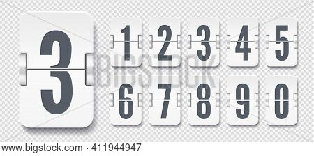 White Set Of Flip Numbers On A Mechanical Scoreboard With Shadows. Vector Template For Your Design.