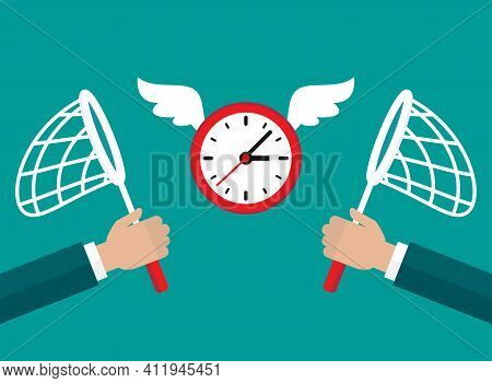 Businessman Hands With Butterfly Nets Catch Flying Clock With Wings. Hunt, Chase Time. Achieve Goals