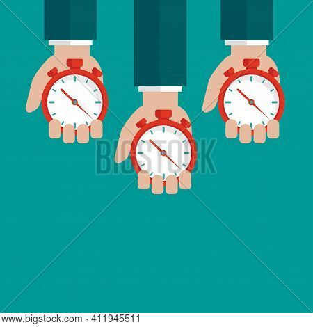 Three Hands With Red Stopwatch Isolated On Turquoise Background. Fast Time Stop Watch, Limited Offer