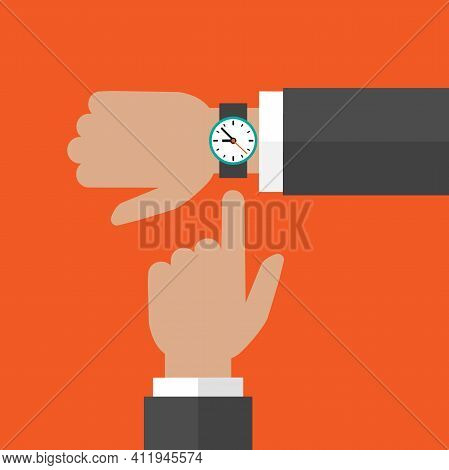 Businessman Hand With Wrist Watch And Pointing Hand On Orange Background.time Watch, Limited Offer,