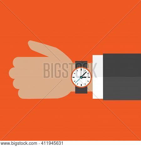 Hand With Watch Isolated On Red Background.time Watch, Limited Offer, Deadline Symbol. Vector Illust