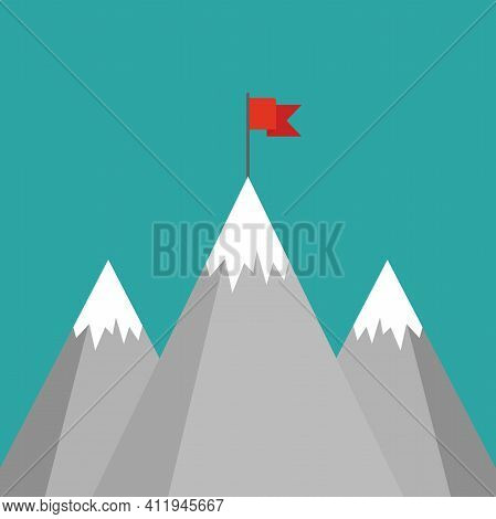 Red Flag On A Mountain Peak. Success, High Results Symbol. Landscape With Mountains And Clouds. Vict