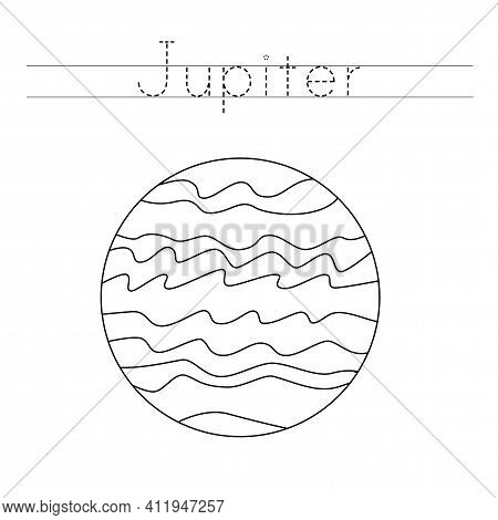 Tracing Letters With Planet Jupiter. Writing Practice.