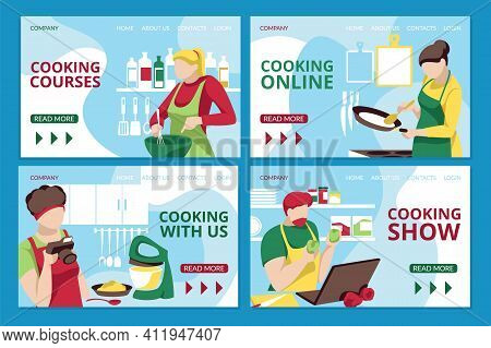 Cooking Online, Culinary Course Web Page. Cooking Show Video Broadcasting With Chefs Preparing Homem