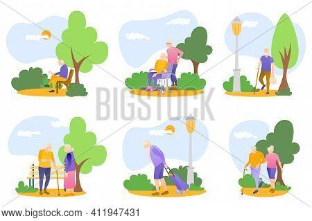 Seniors Walking In Summer Park Set. Elderly People Outdoor Activities, Healthy Lifestyle Concept. Gr