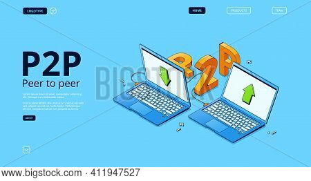 P2p Network Banner. Concept Of Peer To Peer Connection, Distributed Computing Between Different Comp