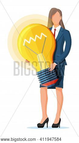 Businesswoman With Light Idea Bulb. Concept Of Creative Idea Or Inspiration, Business Start Up. Glas