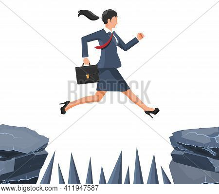 Businesswoman Jumps To Goal Through Abyss With Thorns. Business Woman In Suit With Briefcase Jump Be