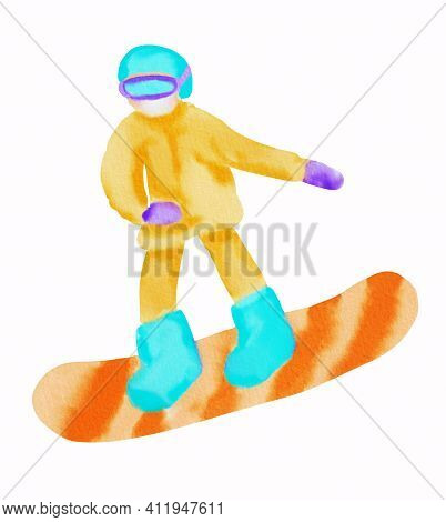 Snowboarder In Yellow Sport Wear With Light Blue Helmet And Orange Snowboard. Hand Drawn Watercolor