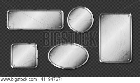 Old Metal Plates, Steel Signboards With Screws Isolated On Transparent Background. Vector Realistic