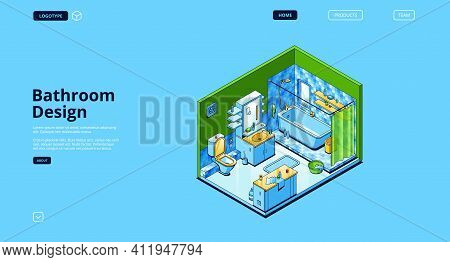 Bathroom Design Isometric Landing Page, Empty Room Modern Interior With Appliances And Furniture Bat