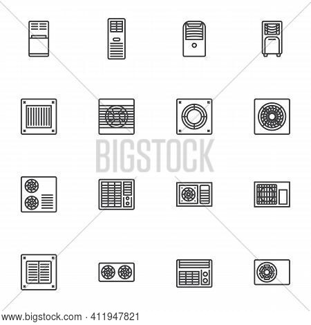 Air Conditioner System Line Icons Set, Outline Vector Symbol Collection, Linear Style Pictogram Pack