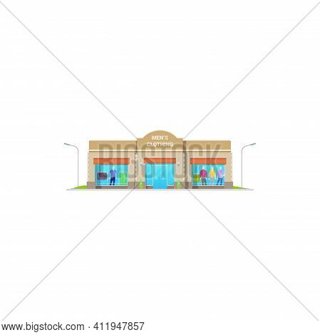 Men Clothing Store Or Shop, Man Fashion Boutique And Tailor Building, Vector Isolated. Menswear Clot