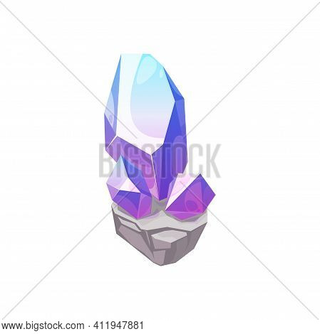 Crystal Gem, Gemstone Jewel And Rhinestone Diamond, Vector Jewelry Glass Mineral, Isolated Icon. Sap