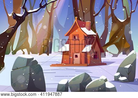 Wooden House In Winter Forest. Old Snow Swept Shack Stand In Deep Wood Surrounded With Trees And Roc