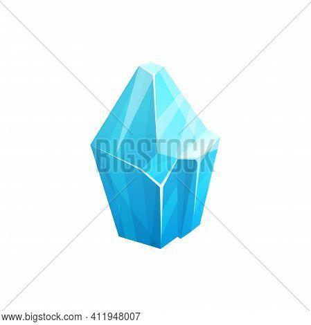 Ice Rock Crystal, Blue Snow Iceberg Or Frozen Water And Arctic Glacier Mountain, Vector Icon. Antarc