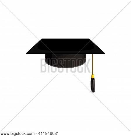 Cap Icon, Hat Of College And University Education Student, Vector Isolated Mortar Board. Academy Kno