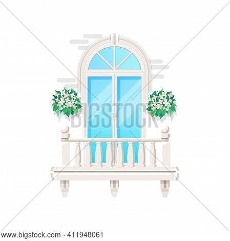 Balcony With House Window, Vintage Classic Facade Banister Of Building, Vector Flat Icon. Modern Bal