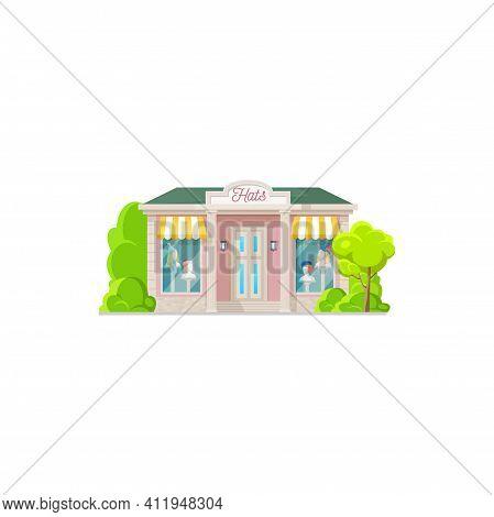 Headwear Store Isolated Hats Shop Facade Exterior Flat Cartoon Design. Vector Colorful Fashion Showr