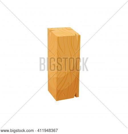 Plane Timber Plank Carpentry Timber Piece Isolated Flat Cartoon Icon. Vector Rough Driftwood Materia