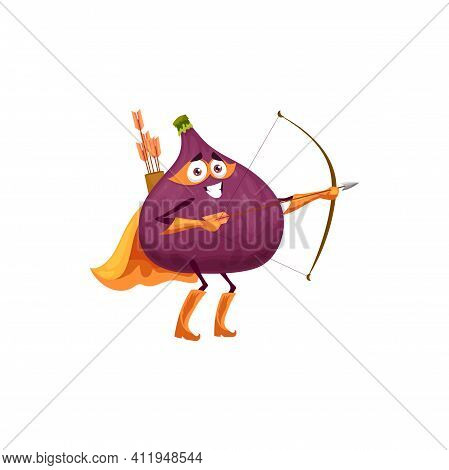 Fig Fruit Superhero Cartoon Character, Vector Tropical Fruit Food In Super Hero Costume And Mask. Pl