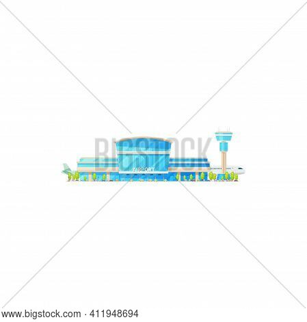 Sky Avia Station, Airport Terminal Building And Airplanes Isolated Icon. Vector International Airlin