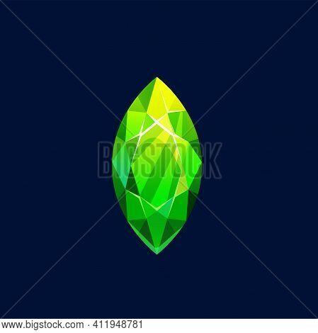 Green Crystal, Magic Rock Vector Icon, Gem Stone. Precious Or Semiprecious Emerald Gemstone, Organic