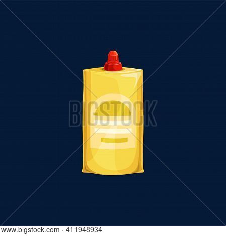 Plastic Pouch With Sauce Dressing, Ketchup, Mayonnaise Or Mustard, Stand Up Bag With Cover Isolated.