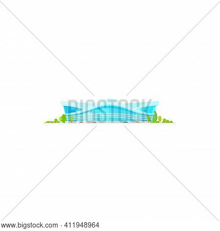 Exterior View Of Soccer Football Stadium Isolated Building With Glass Facade. Vector Sport Complex A