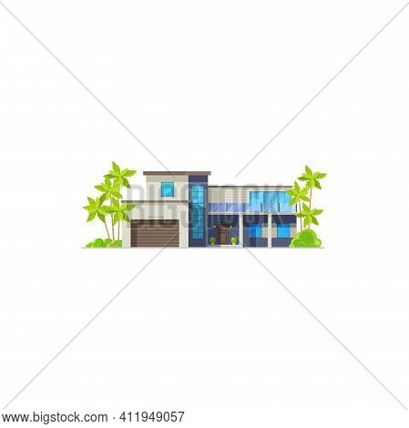 Bungalow House Or Villa Resort Hut And Cottage, Vector Isolated Flat Facade. Tropical Island Condomi