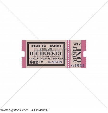 Ice-hockey Championship Invitation, State Tournament Championship Admit One Card. Vector Full Ticket