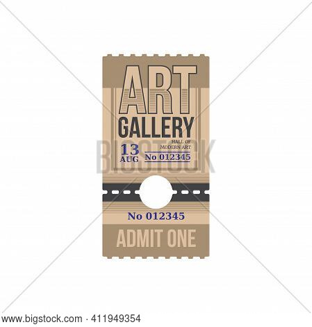 Ticket To Art Gallery, Numbered Paper Card With Price To Hall Of Art. Vector Raffle Coupon With Date