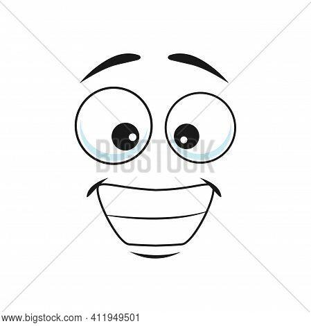 Cartoon Face Isolated Vector Icon, Wide Delighted Smile Facial Emoji, Happy Funny Creature, Happy Hu